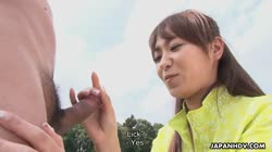 Asian chick gets sexual on an outdoor fotball field Thumb
