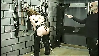 Slave gets bound by ropes and ass lashed hard with whip Thumb