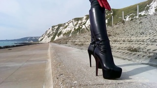 Dominatrix annabel black leggings, stiletto boots Thumb