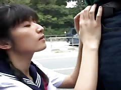 Asian Uncensored, Blows 2 Guys in Public, Cum in Mouth Thumb