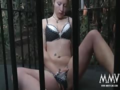 MMV FILMS German whore in cage gangbanged and bukkake Thumb
