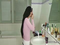 German Step-Sister Caught in Bathroom and Helps with Handjob Thumb