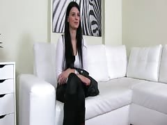 FakeAgent Raven haired amateur talked into sex and Jizzed over in Casting Thumb