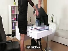 FemaleAgent. Sexy agent fulfills busty blondes strap on fantasy Thumb