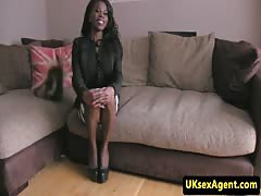 Ebony amateur sucking balls during interview Thumb