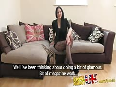 FakeAgentUK Sexy stocking clad Liverpool girl spreads legs in fake casting Thumb