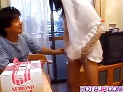 Nami Asakura in wedding dress rubs it with gloves Thumb