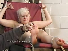 Kinky blondes foot fetish and spanking of crying slave girl Chaos in falaka Thumb