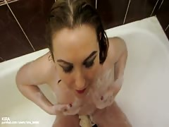 Cleaning His Dick And Get Cum In my Mouth Close Up Blowjob In Bathroom Thumb