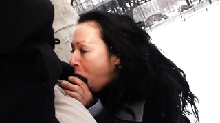 Mareen Deluxe - Public Interracial in the snow Thumb