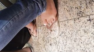 Candid Gorgeus Sexy Soles and soles in flip flops Thumb