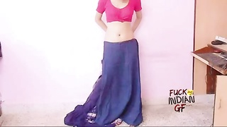 young indian wife teaching how to wear saree Thumb