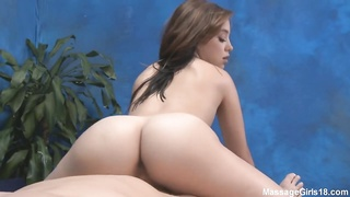Petite lady with violent bubble-butt sliding on a pricks Thumb