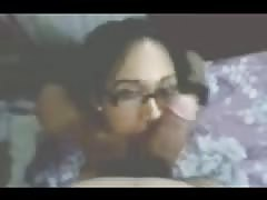 Desi Girl In Glasses Giving BlowJob to his Friend Thumb