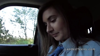 Teen police babe giving a blowjob in automobile Thumb