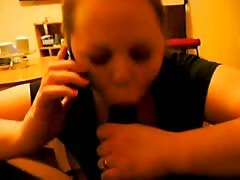 Cheating Wife on Phone With Husband While Sucking a BBC Thumb