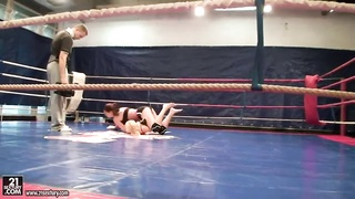 Angel Rivas and Niky Gold fighting to dominate in exactly the backstage fighting fasten Thumb