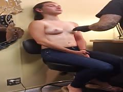 Teen getting her Nipples Pierced Thumb