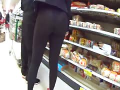 Hot ass in see thru leggings shop and street Thumb