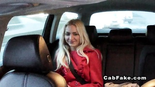 Shaved pussy Euro blonde in fake taxi Thumb