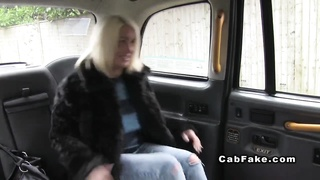 Big-chested British plumper pounded in pretend taxi Thumb
