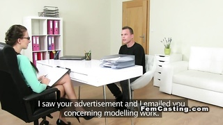 Female agent testing amateur guy in casting Thumb