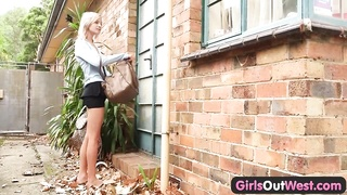 Skinny novice blondie outdoor toying Thumb