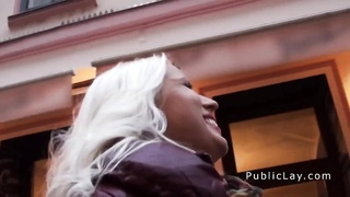 Euro blond rookie flashing huge funbags in public Thumb
