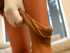 French girl Nylon encasement in garterbelt & stockings Thumb