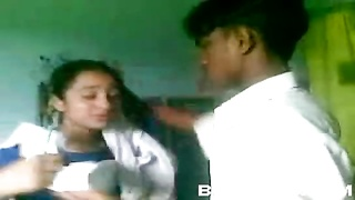 Desi High-school Couple Kiss Hump Thumb