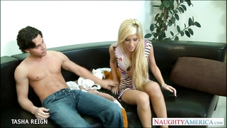 Chesty blonde Tasha Reign gets facialized Thumb