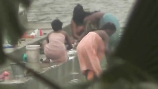 Indian honeys bathing by precisely the river Thumb