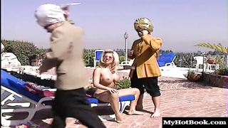 Dolly Golden is this blonde French babe who likes taking two cocks in Thumb