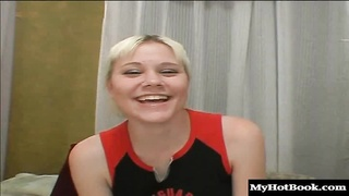 Baby Dee is a blonde cheerleader wholl be sitting on her bed showing Thumb