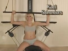 Blonde teen plays with herself while working out Thumb