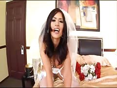Eva Angelina in stocking forces you to lick her feet and ass after marrying Thumb