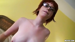 Redhead in sexy glasses is humping wild Thumb