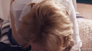 Glamour blond blowing yummy schlongs in precisely the flick by Teen Fidelity Thumb