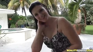 Immensely spicy black-haired is being fucked hard in her small cellular Thumb