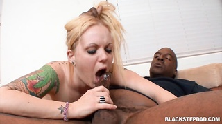 Inked blond will get screwed by a ebony cock in exactly the vid by Ebony Step Parent Thumb