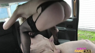 Bleached mistress is providing an outstanding deepthroat blowjob in precisely the grew up automobile Thumb
