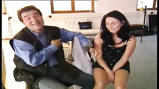 Home-made interview with interesting dark haired housewife Thumb