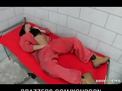 Busty lesbian prisoner forces new in-mate Thumb