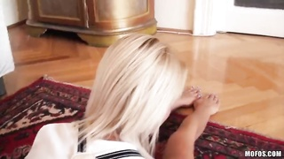 Crazy blond is being connected deep and hard in her tight cooche Thumb