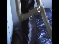 Silky black satin gown, panties and gloves Thumb