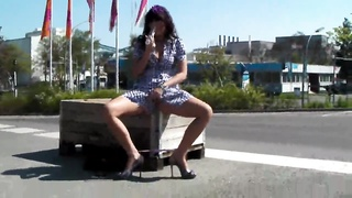 Milf beaver masturbation in exactly the street in newbie public porn Thumb