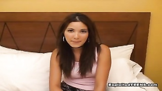 Sexy high-school lady is having fun blowing shafts of her male in newbie tryout Thumb