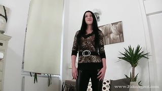 Slutty dark haired spreading her long legs in the course of audition with Faux Agent Thumb