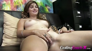 Young lady with nice titties is giving a blowjob at Try-out Sofa X Thumb