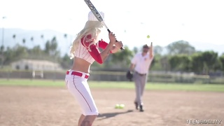 Ultra slender sporty blond is posing in a baseball outfit Thumb